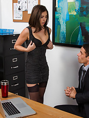 Gorgeous brunette babe catches her boss on the computer and makes him study her body and fuck her in the office.
