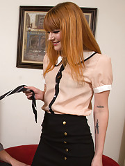 Redhead worker babe gets fucked by her boss and loves orgasm on the floor.