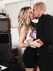 Gorgeous blonde Jessa Rhodes needs help at work so she fucks coworker to get it.