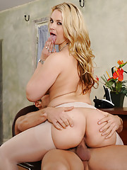 Sarah Vandella is masturbating and then gets caught so she punishes her worker by fucking him.