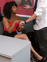 Misty Stone fucks one of her employees because he was late to work.