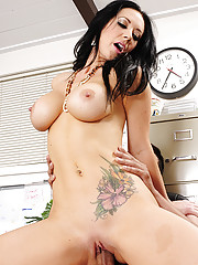 Jayden Jaymes has hot sex on her workers desk and loves riding his thick cock.