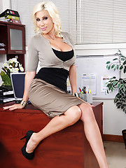 Puma Swede fucks one of her workers right on her own desk.