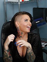 Christy Mack is the hottest receptionist in the hospital. She's planning on getting a new tattoo soon, anywhere but her tits of course, she doesn't want anything to distract from her amazingly huge breasts. The doctor in the office agrees, the o
