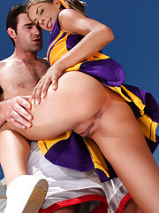 Naughty Cheerleader Presley Hart gets fucked and sucks dick poolside