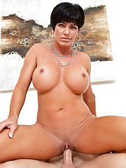 Short haired mom fucks young stud