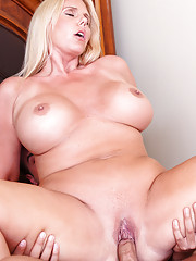 Big tit MILF Karen Fisher loves riding a hard young cock.