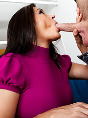 Busty milf Raylene rides a young cock