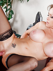 Dirty blonde gets fucked hard on her desk.