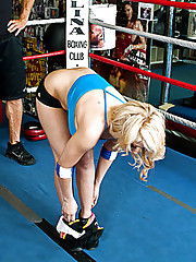 Sexy Madison Ivy thanks her trainer in the boxing ring by giving him a good fucking and sucking.