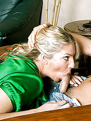 Hot blonde cougar takes advantage of her son