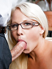 Sexy blond student learns a lesson in fucking and sucking her teacher