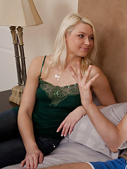 Hot blonde girl is sick of her boyfriend so she sucks and rides his friends cock until he cums on her.