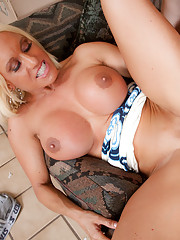 Blonde mom with big tits takes it from behind.