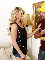 City inspector gets fucked by hot blonde babe in her house.
