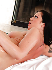 Busty babe Melina Mason is gorgeous is getting a massage and has sex with her masseuse.