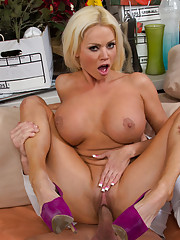 Busty hot MILF Nikita Von James fucks younger cock and loves riding it on the couch.