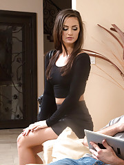 Sexy babe Lily Carter has sex with her boyfriends big cocked son.