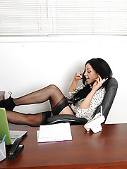 Gorgeous and busty Audrey bitoni is caught on the phone by her boss and fucks him so she can keep her job.