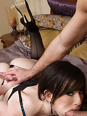 Dark hair babe Jennifer White gets fucked by her friends husband and his thick cock.