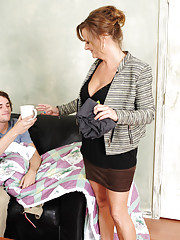 Hot teacher Becca Blossoms wakes up student gives him coffee and a morning fuck before he leaves.
