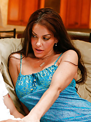 Gorgeous brunette MILF VIctoria Valentina has hot sex with younger cock and loves the fucking she gets.