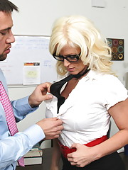 Gorgeous blonde worker gets fucked by her boss and loves the thick cock inside of her.