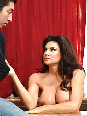 Busty MILF Teri Weigel is in the tub and is horny for younger cock so she seduces one of her son