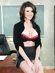 Busty brunette teacher Dallas punishes one student and decides to fuck the other student.