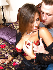 Hot Madison Ivy is setting up for a romantic night but then decides to fuck her boyfriends son.