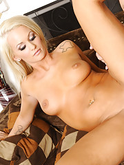 Hot blonde babe Emily Austin fucks her friends brother in the living room.