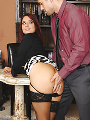 Hot brunette worker Jessica Ryan fucks one of her fellow coworkers.