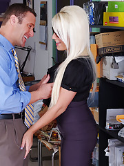 Busty blonde fucks her co-worker in the stock room