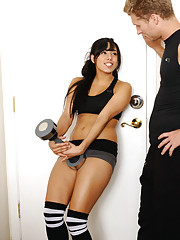 Gia Steel pays for her personal trainer by sucking and fucking his cock.