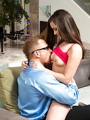 Lily Carter has hot guy at her door so she seduces his married cock into fucking her tight pussy.