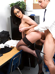 Gorgeous Kendra Lust teaches her student how to fuck her pussy.