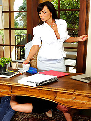 Gorgeous Lisa Ann has hot sex with surprise guest in her office.
