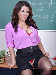 Leena Sky teachers her student how to fuck her tight pussy in the classroom.