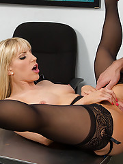 Ashley Fires is a hot and horny worked who wants to have sex on her desk.