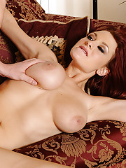 Gorgeous redhead Jessica Robbin has hot sex with big cocked guy who is her friends brother.