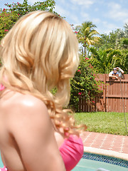 Alyssa Lynn invites neighbor guy over to fuck her wet pussy.