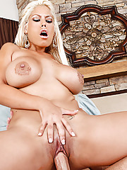 Busty latina Bridgette B sucks a big cock