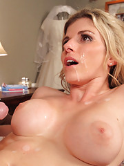 Hot blonde MILF is horny after working and decides to fuck one younger cock to relieve her stress.
