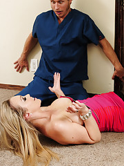 Abbey Brooks falls down and gets CPR and she decides to fuck her savior.
