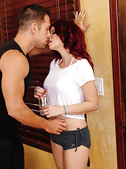 Sarah Blake is hot and thirsty after working out so she gets water from a friend of hes husband and decides to fuck him as well for another workout.