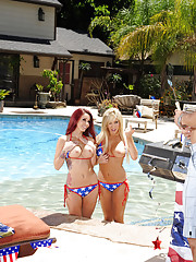 Gorgeous Monique Alexander & Tasha Reign seduce one lucky guy to fuck their tight snatches outside for a hot threesome.
