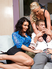 Jessica Jaymes, Phoenix Marie, & Romi Rain all cheat on their husbands to fuck one lucky guy in hot threesome.