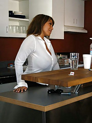 Gorgeous busty Ava Devine fucks younger cock in her kitchen and has hot anal sex.