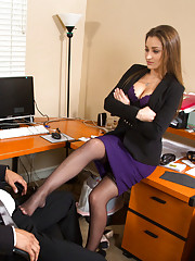 Dani Daniels punishes her worker then decides to make him punish her pussy and have hot sex at work.