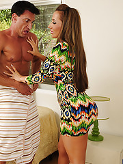 Richelle Ryan tricks married guy into fucking her tight pussy and playing with her breasts.